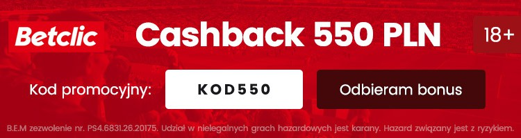 betclic online bonus cashback 550 pln